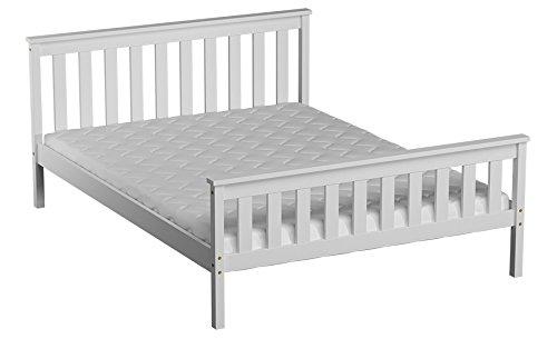 Kinderbett   Jugendbett Kiefer Vollholz massiv weiß lackiert A28, inkl. Lattenrost - Abmessung 120 x 200 cm