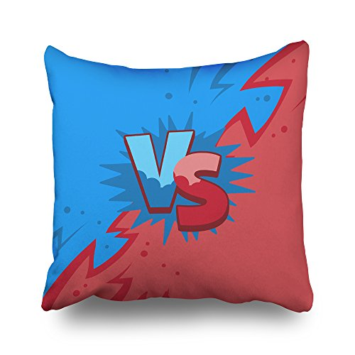 Asoco Throw Pillow Covers,Blue and Red Versus Double-Sided Pattern Sofa Cushion Cover Couch 20 x 20 inch Home Decorative Gift Bed Pillowcase Summer Tropical Sea Beach Style Hidden Zipper ()