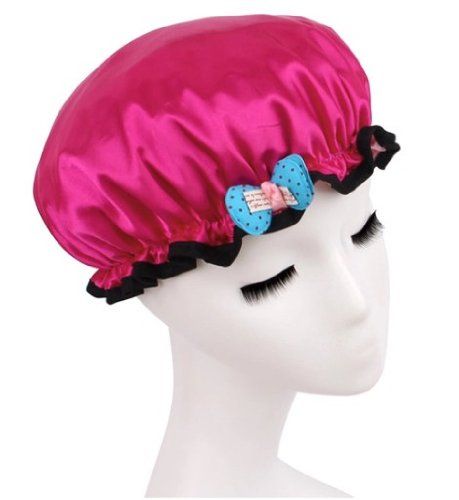 Beautiful Home High Quality Thicken Double Waterproof Children Shower Cap (rose red)
