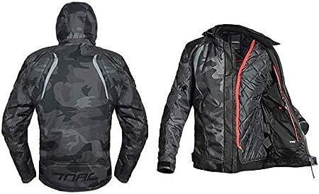 Camuflaje Gris Corte Ajustado Cuatro Estaciones Transpirable C/álido Impermeable Anti-ca/ída Resistente con Armours CE YYSDH Hombres Chaqueta de Moto