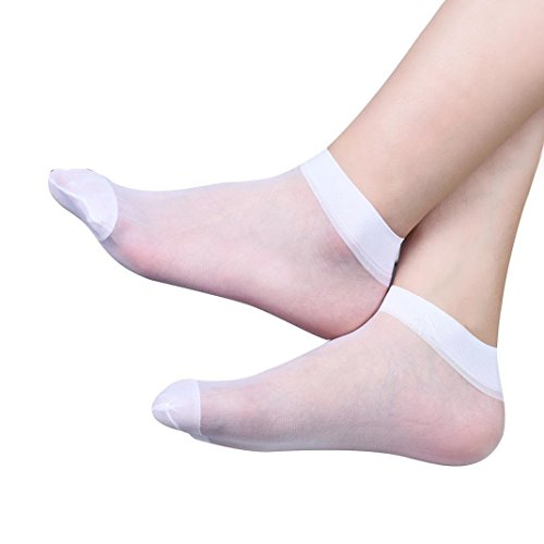 Creazy 10 Pairs Ultra-thin Elastic Silky Short Silk Stockings Women Ankle Socks (White )