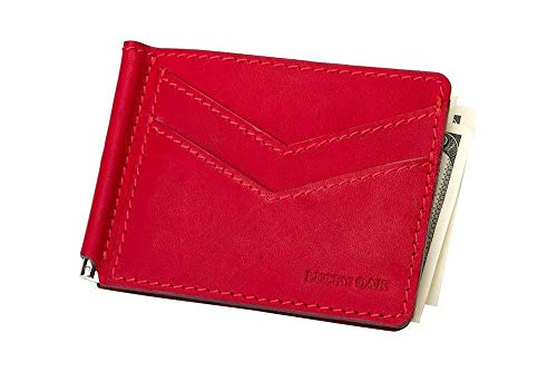 (Slim Genuine Leather Red Money Clip Wallet Holds 3 Credit Cards RFID Blocking)