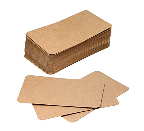 Tupalizy Small Blank Kraft Paper Message Note Business Cards Mini Greeting Place Name Vocabulary Word Flash Cards Graffiti Scrapbookings DIY Gift Tags Label, Bronze, 100PCS