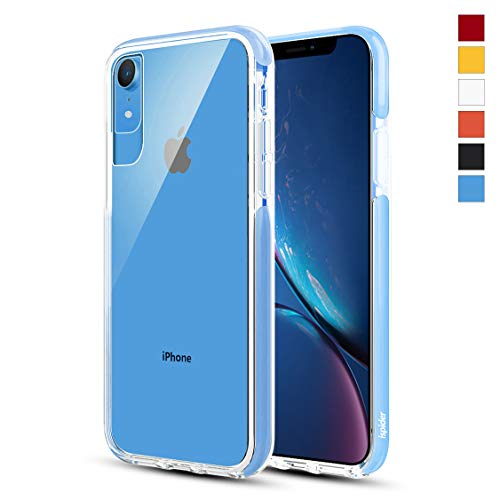 Ispider Crystal Clear Case Designed for iPhone XR, [3-Meter Anti-Fall] Premium Protective, Slim Case for Apple iPhone XR, [Hard PC Back and Dual-Layer Reinforced TPU Bumper Frame] - Blue