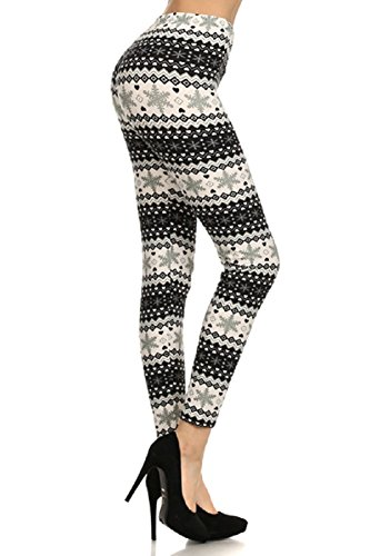Elegant4U Buttery Soft Snowflake and Reindeer Christmas Leggings Pants Tights-One Size Fits Most