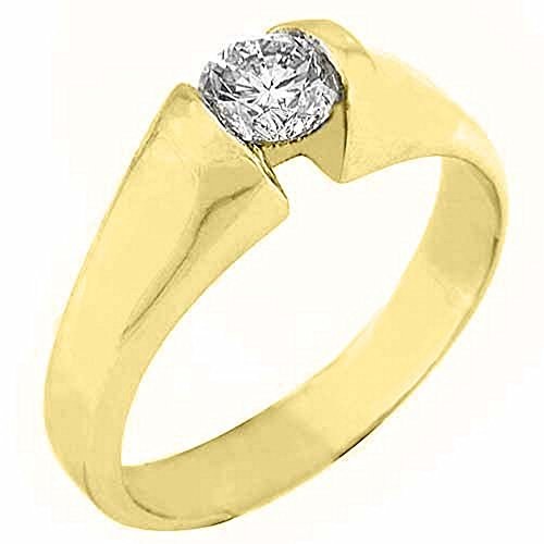 14k Yellow Gold .50 Carats Solitaire Brilliant Round Diamond Tension - Brilliant Ring Tension Round Diamond