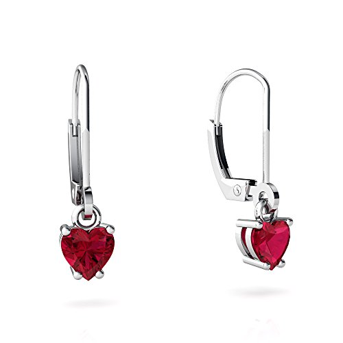 Heart Created Earring Ruby 5mm (14kt White Gold Lab Ruby 5mm Heart Lever Back Earrings)