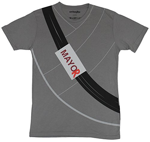 [Homestuck Mens T-Shirt - Mayor of Can Town Costume Front Image (Medium) Gray] (John Homestuck Costumes)