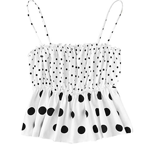 Fashionhe Fashion Women Cold Shoulder Ruched Sleeveless Polka Dots Casual Vest Tank Top Blouse(White.XL)