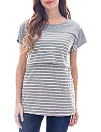 0c8a272edbf Women's Maternity Nursing Tops Striped Breastfeeding T-Shirt