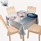 PriceTextile Bowling Party Table Cover Thrown Ball and Scattered Pins Speed Hit The Target Shot Score Small Tablecloth White Pale Blue Red W 36' x L 36'