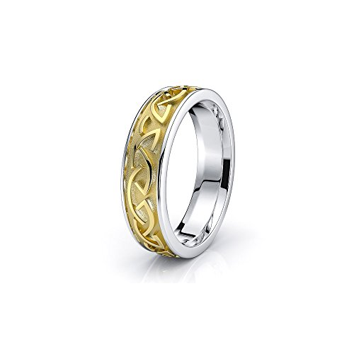 10K White Yellow Gold Two Tone Celtic Knot Wedding Ring Size 8.5