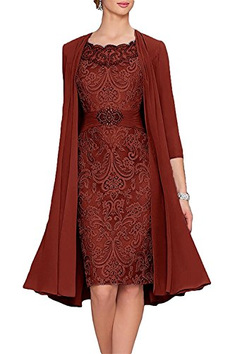 APXPF Women's Tea Length Mother of The Bride Dresses Two Pieces with Jacket Burgundy US16