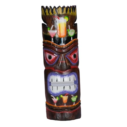 Tiki Mask Wooden Wall Decor 20 Inch Tall Handmade Hawaiian Art