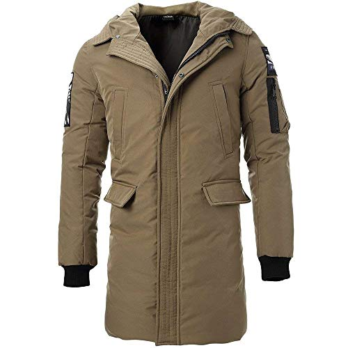 BOLAWOO Men's Boys Winter Down Jacket Coat Quilted Hooded Jacket Fur Long Fashion Brands Coat Cotton Parka 3 Colors Khaki