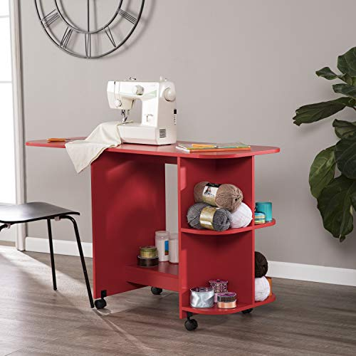 Sewing Table with Folding Section, Sturdy Wood Construction with Durable Vinyl Veneer, Easy to Store, Generous Working Top Surface, Convenient Shelves Storage Organizers, Multiple Finish Options