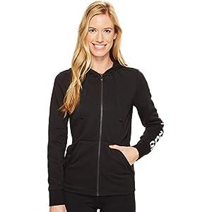 adidas Women's Essentials Linear Full Zip Fleece Hoodie, Black/White, Medium