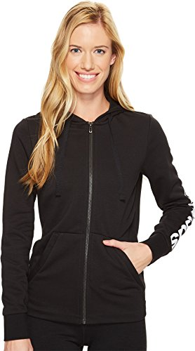 adidas Women's Essentials Linear Full Zip Fleece Hoodie, Black/White, Small