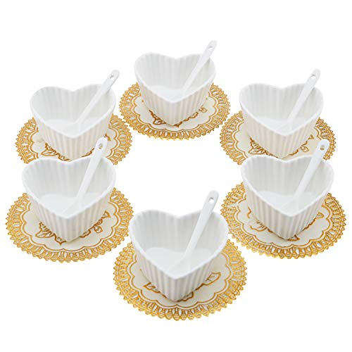 (Set of 6 Small Porcelain Ramekins Condiment Dishes, Ceramic Dipping Cups, Snack Appetizer Serving Tray, Sauce Dish Plate, Dessert and Ice Cream Bowls, White Heart Shaped with 6pcs Dish Holders)
