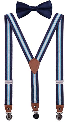 SUNNYTREE Men's Boys' Suspenders Adjustable Y Back with Bow Tie Set for Wedding Party (39 inches (8 yrs - 15 yrs), Blue White Stripe)