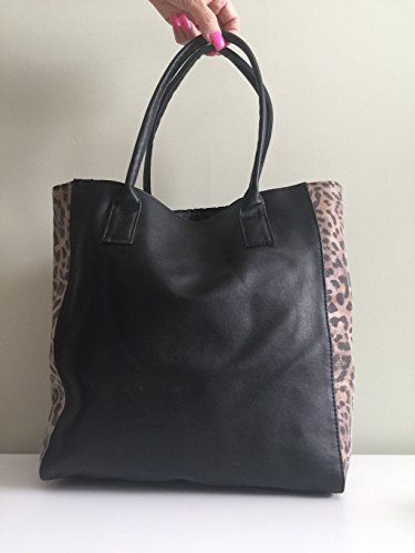 Black Faux Leather Tote with Leopard Print (Trim Verge)