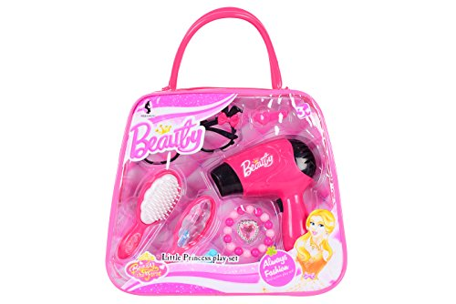 Planet of Toys Little Princess Beauty Playset with working Hand Dryer (8 Pieces)