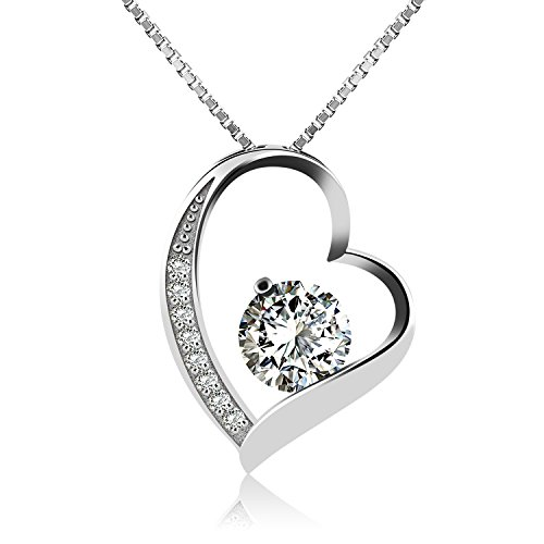J.Rosée Kette Valentinstag Geschenke Damen Halskette mit Herz Anhänger 925 Sterling Silber Zirkonia 45cm, Schmuck mit Etui (ewige Liebe) (weiß)