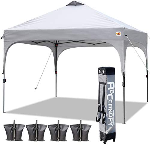 ABCCANOPY Canopy Tent 10×10 Pop Up Canopy Outdoor Canopies Portable Tent Popup Beach Canopy Shade Canopy Tent with Wheeled Carry Bag Bonus 4 Weight Bags, 4 x Ropes 4 x Stakes, Gray