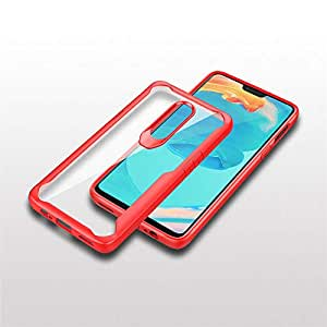Vogue Clear TPU Anti-Fall Dirt Phone Back Cover Red Hard PC Material Protective Anti-Scratch Shock Absorption Case