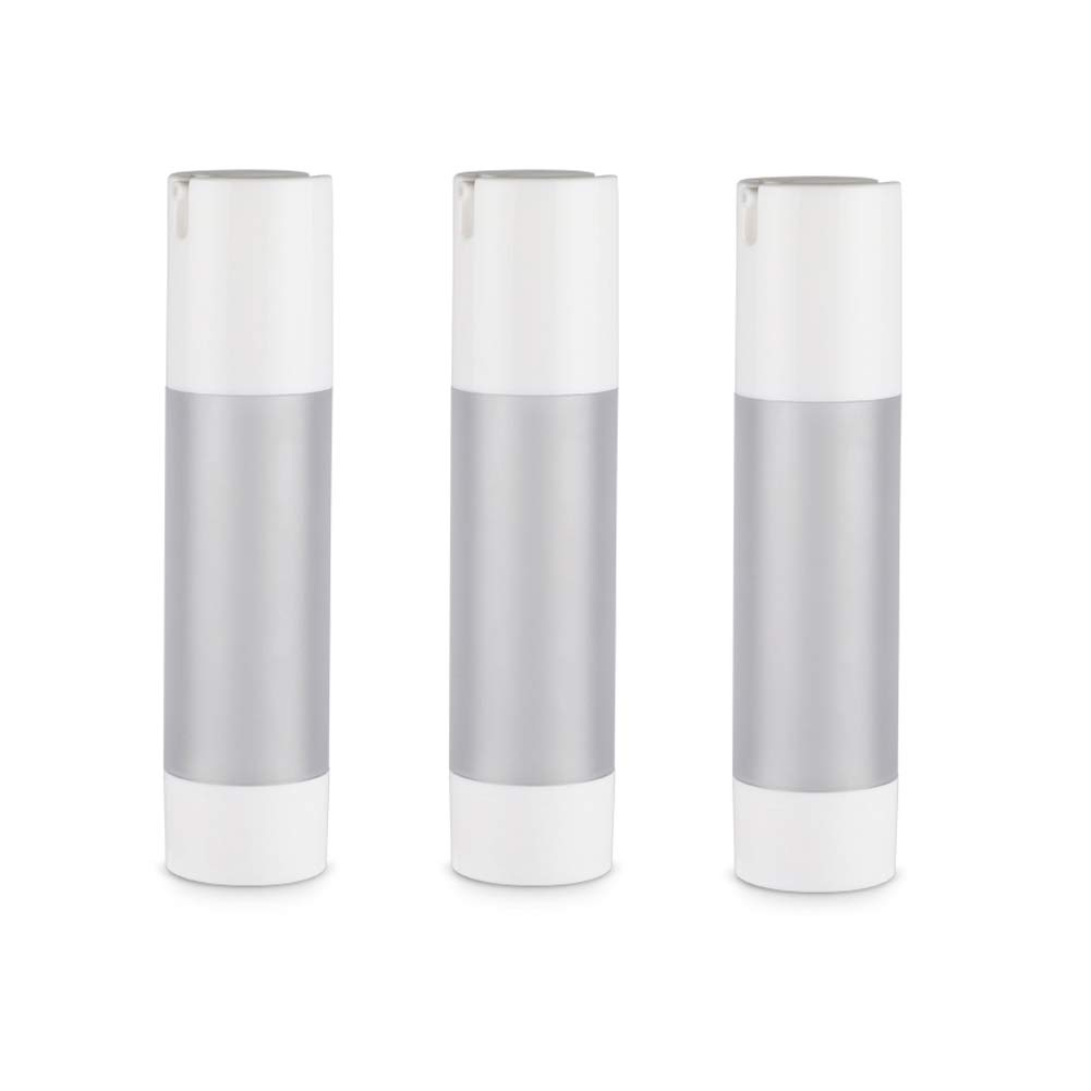 3PCS 50ml/1.7oz Empty Refillable Frosted Plastic Airless Vacuum Pump Press Bottle Portable Travel Packing Storage Cosmetic Containers Jar Holder Vial with White Cap For Cream Lotion Emulsion Essence