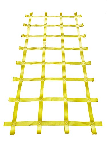 FONG 7' X 4' Climbing Cargo Net Yellow for Kids Outdoor Play Sets, Jungle Gyms, SwingSets and Ninja Warrior Style Obstacle Courses
