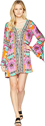 Green Dragon Women's Tribal Mosaic Waikiki Split Sleeve Lace-up Tunic Cover-up Multi ()