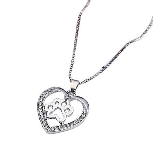 (Women Heart Pendant Necklace Fashion Crystal Rhinestone Dog Paw Gift for Dog Lovers Mixpiju (White))