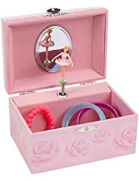 Musical Jewelry Box with Pink Rose Design, Swan Lake Tune