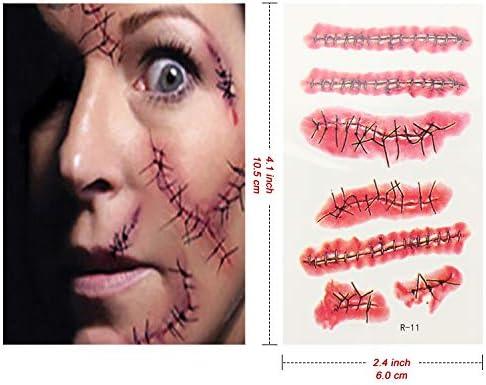 Halloween Tatuajes Temporales,30 Hojas (175 Patrones) Cicatrices ...