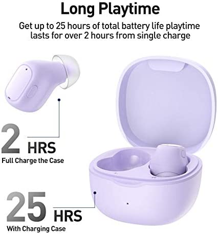 Baseus WM01 Wireless Earbuds Bluetooth Headphones Touch Control 25Hrs Waterproof in-Ear Built-in Mic Headset TWS Stereo Microphone Earphones Long Playtime with USB-C Charging Case Purple