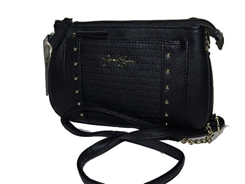 Jessica Simpson TILLY Black Leather goldtone Hardware Cro...