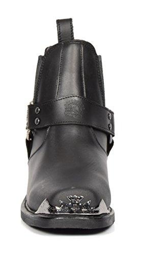 Stiefel Leder 10EA Blockabsatz Of Chelsea Square Biker Lo Slip House Leather Schwarz Schuhe on Toe Stil qAfYXR