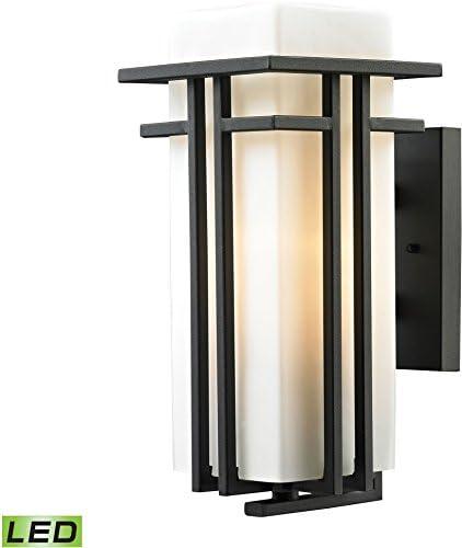 Elk Lighting 45086 1-LED Croftwell Collection 1 Light Outdoor Textured Matte Black-LED Offering Up to 800 Lumens Sconce