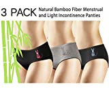 New 3 Pack Natural Bamboo Skin-Friendly Absorbent Menstrual Period Panty Incontinence - Cat (Medium)