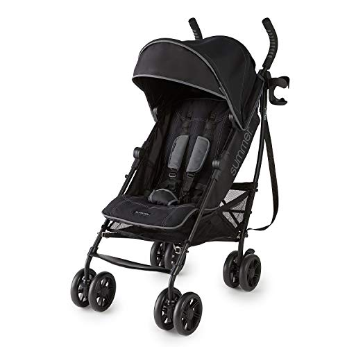 Summer 3Dlite+ Convenience Stroller, Matte Black – Lightweight Umbrella Stroller with Oversized Canopy, Extra-Large Storage and Compact Fold