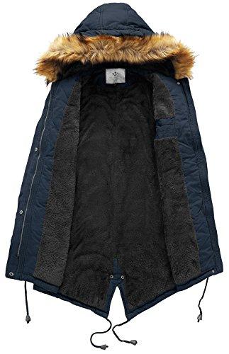 Wenven À Bleu Capuche Longue Grande En Avec Parka Manteau Taille Marine Coton Femme Cordon D'hiver Veste Fourrure La RxwRUqBr
