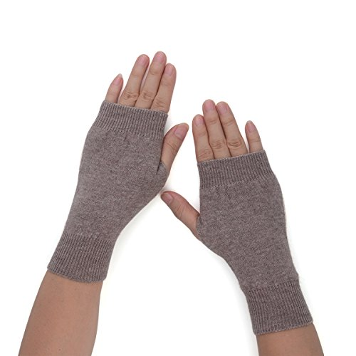 Flammi Women's Cashmere Half Fingerless Gloves Thumb Hole Gloves Mittens