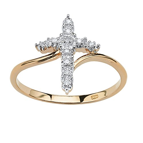 18K Yellow Gold over Sterling Silver Genuine Diamond Accent Cross Ring Size 10