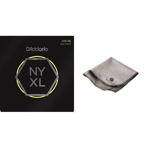 D'Addario NYXL0946 Nickel Wound Electric Guitar Strings, Super Light Top / Regular Bottom 3 Pack with Microfiber Polish Cloth Ghs Guitar Polish