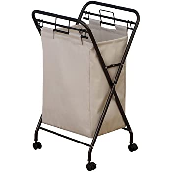 rolling laundry cart walmart this item household essentials hamper heavy duty canvas bag antique bronze frame basket dresser with hanger