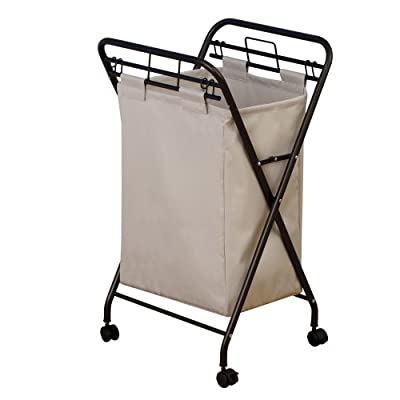 Household Essentials 7172 Rolling Laundry Hamper with Heavy-Duty Canvas Bag | Antique Bronze Frame - ROLLING LAUNDRY HAMPER CART with removable bag on 4 wheels REMOVABLE POLYESTER BAG is heavy-duty and washable (wash on cold) ROLLING CASTERS create an easier way to transport dirty laundry to washing machine - laundry-room, hampers-baskets, entryway-laundry-room - 41e3n2w8TcL. SS400  -