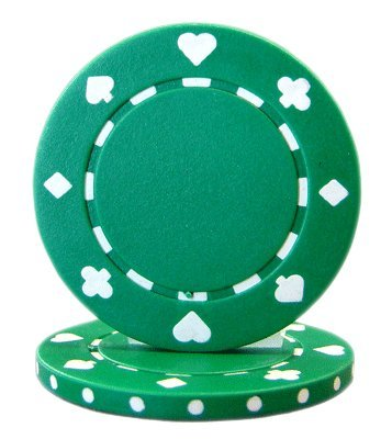 Brybelly Suited Poker Chips (50-Piece), Green, 11.5gm
