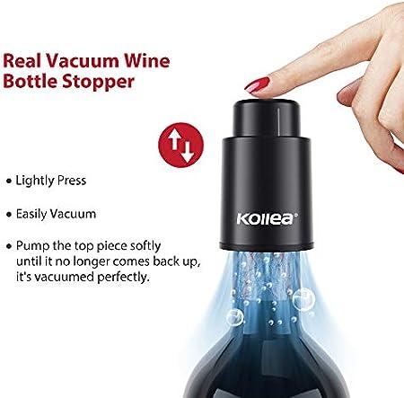 Tapón de Vacío Vino, Kollea Tapones de Botella, Reutilizable Bomba Vacio Vino Vacu Vin con Escala de Tiempo, Bomba de Vacío para Vino, El Mejor Regalo para Los Amantes del Vino (2 Piezsas, Negro)