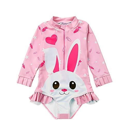 4c52d753f8f32 One Piece Swimsuits for Girls, Rash Guard Long Sleeve Full Body Swimwear - UV  Sun Protection - Lovely Pink Rabbit Design Toddler Kids Baby Girl Swimsuit  for ...